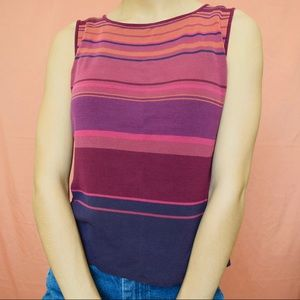 70s INSPIRED PURPLE AND ORANGE SILK RIBBED TANK
